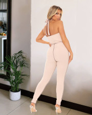Plus Size Sexy Halter Backless Lace Up Jumpsuit LX-5800