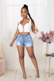 Plus Size Denim Lace Up Jeans Shorts LX-5521
