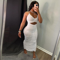 Sexy Solid Ruched Bodycon Long Dress GLF-7034