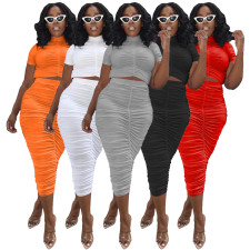 Plus Size Solid Ruched Short Sleeve Midi Skirt 2 Piece Sets IV-8221