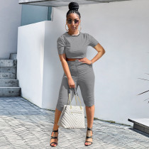 Solid Short Sleeve Ruched Two Piece Sets ATDF-5127