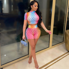 Sexy Gradient Short Sleeve Hollow Out 2 Piece Sets LDS-3275