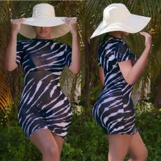 Sexy Mesh Printed Short Sleeve Seaside Mini Dress JPF-1040
