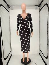 Polka Dot Print Full Sleeve Long Dress NLAF-6030