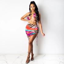 Sexy Printed Halter Drawstring Skirt 2 Piece Sets NLAF-6049
