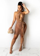 Sexy Mesh Patchwork Bandage Club Dress BS-1271