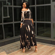Trendy Printed Half Sleeve Long Skirt 2 Piece Sets QSF-5096