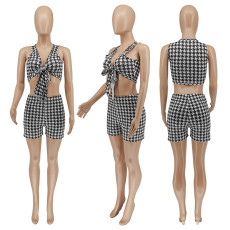 Houndstooth Print Tie Up Sleeveless 2 Piece Shorts Set WSYF-5866