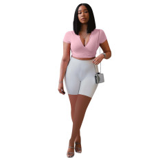 Casual V Neck Short Sleeve Two Piece Shorts Set QMF-7048