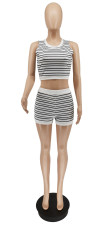 Casual Striped Sleeveless Two Piece Shorts Set WSYF-5871