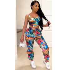 Casual Printed Tank Top And Pants 2 Piece Suits JRF-3623