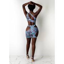 Sexy Printed One Shoulder Sleeveless Hole Club Dress DDF-8101