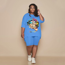 Plus Size Casual Printed T Shirt Shorts 2 Piece Sets GHF-044