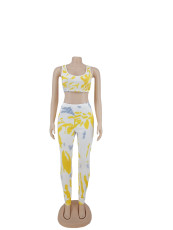 Casual Printed Sleeveless Two Piece Pants Set AYF-1003