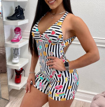 Sexy Printed Backless Romper CTHF-9067