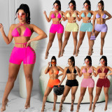 Sexy Solid Halter Bra Top Hole Shorts Two Piece Sets DYF-1082
