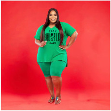 Plus Size Letter Print V Neck T Shirt Shorts 2 Piece Sets WAF-7197