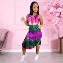 Tie Dye Print Sleeveless Irregular Midi Dress NSFF-6070