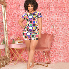 Casual Printed Short Sleeve Two Piece Sets CTHF-9066