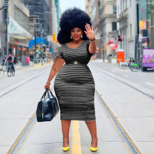 Plus Size Casual Striped Short Sleeve Midi Dress YIM-190