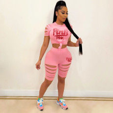 Pink Letter Print Hole Two Piece Shorts Set YIM-189