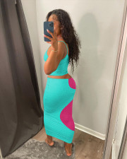 Contrast Color Hollow Out Two Piece Sets YSYF-7517