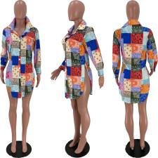 Casual Printed Split Hem Long Sleeve Shirt Top YSU-8072