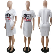 Plus Size Casual Printed Short Sleeve O Neck T Shirt Dress BDF-8078