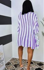 Casual Loose Striped Ruffled Shirt Dress LS-0350