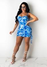 Sexy Tie Dye Spaghetti Strap Ruched Mini Dress MIL-218