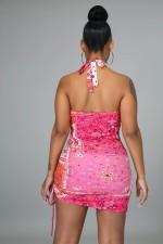 Paisley Print Sexy Halter Hollow Mini Club Dress MIL-221