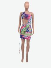 Tie Dye One Shoulder Hollow Sleeveless Club Dress YMF-8066