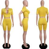 Solid Zipper Short Sleeve Top Shorts 2 Piece Sets MIL-234