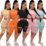 Casual Solid Hole Short Sleeve 2 Piece Sets MIL-236