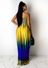 Leopard Gradient Printed Pocket Strap Maxi Dress MIL-222