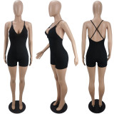 Sexy Solid Backless Cross Strap Romper MUL-S172
