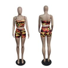 Camo Print Cami Top And Shorts 2 Piece Sets WTF-9136