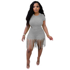 Fashion Plus Size Solid Color Short Sleeve And Tassel Shorts Two Piece Sets MTY-6529