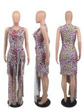 Leopard Print Sleeveless Badage Dress OXF-8071
