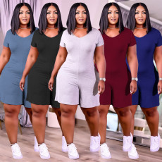 Plus Size Solid Casual Short Sleeve Romper WTF-9138