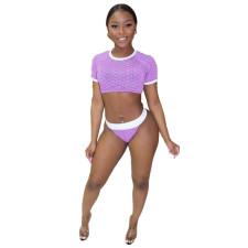 Fashion Printed Sexy Mesh Swimsuit Three Piece Set NKEF-5033