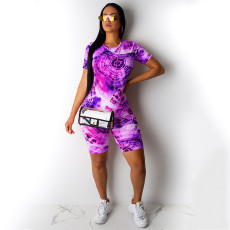 Fashion Casual Tie-dye Print Short Sleeve Shorts Two Piece Sets NKEF-5038
