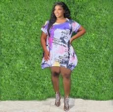 Plus Size Casual Printed Short Sleeve Mini Dress WUM-2157