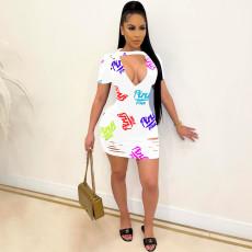 Plus Size Pink Letter Print Hole Short Sleeve Mini Dress OM-1227
