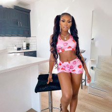Summer Casual Peach Print Vest And Shorts Two Piece Sets NKEF-6016
