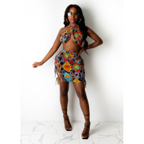 Sexy Halter Wrap Chest Mini Skirt Two Piece Sets YIY-5291