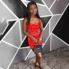 Fashion Sexy Print Spaghetti Strap Mini Dress NKEF-6017