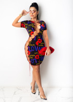 Plus Size Sexy Printed Lace Up Hollow Bandage Dress OM-1222