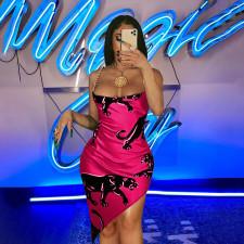 Panther Print Chain Strap Irregular Mini Club Dress YINF-4081