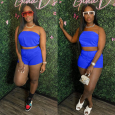 Solid Tube Top And Shorts Two Piece Sets SMXF-9109